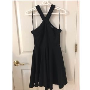 Lulu's Black Halter Skater Dress